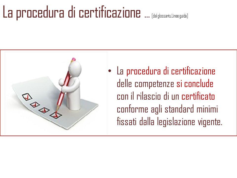 La procedura di certificazione … [dal glossario, Linee guida]